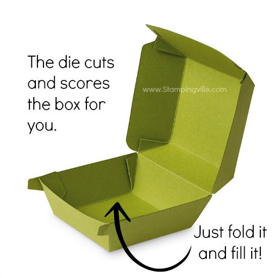 Photo image of assembled and open Hamburger Box die-cut treat box.