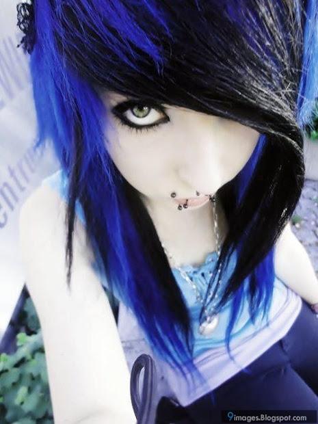 emo girl scene blue hair cute brunette
