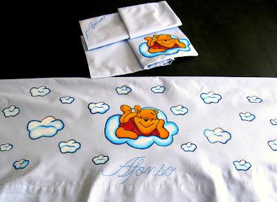 Lençois com winnie the pooh pintado