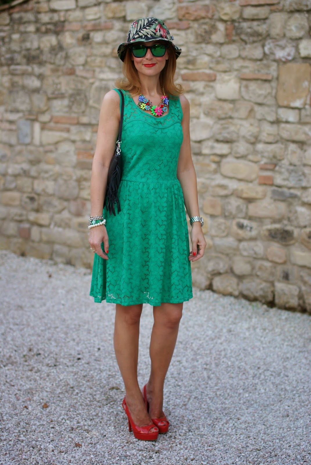 Morgan de toi lace dress, fringed bag, bob hat, oakley green sunglasses, Fashion and Cookies, fashion blogger