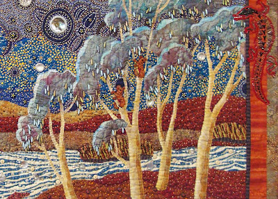 Thom Atkins, beaded quilt, Australian Dreamscape, detail