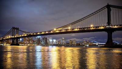 Brooklyn, New York, Bridge, Chinatown, Manhattan Bridge, Con Edison, Superstorm Sandy, US Construction, Transport, Lights, Night, Water, Building, America,
