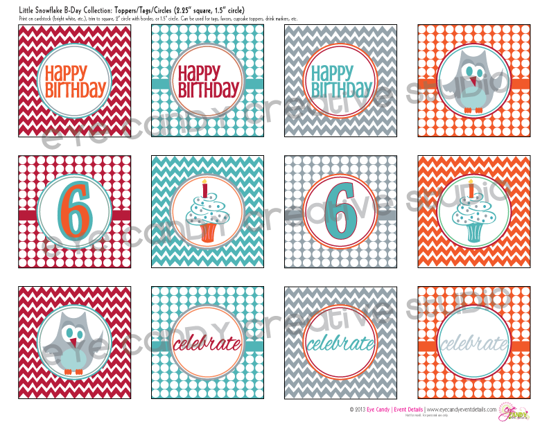 owl birthday party toppers, birthday circles, chevron, polka dots, fall