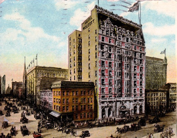 This 1907 postcard view shows that Fifth Avenue had become heavily  commercialized  while brownstone homes still abut the Hotel Wolcott along  31st Street. Daytonian in Manhattan  The 1904 Hotel Wolcott    No  4 West 31st