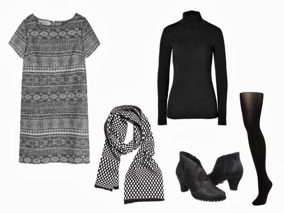 black and white outfit, layering a turtleneck under a short-sleeved dress