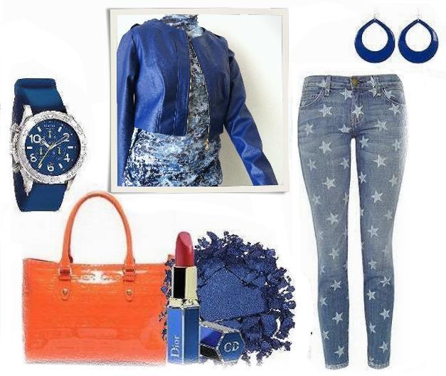 Look Azul + Laranja.