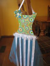 Blue Funky Floral Tutu Bow Holder