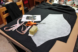 Cutting fleece for the Thorin armor shirt project.