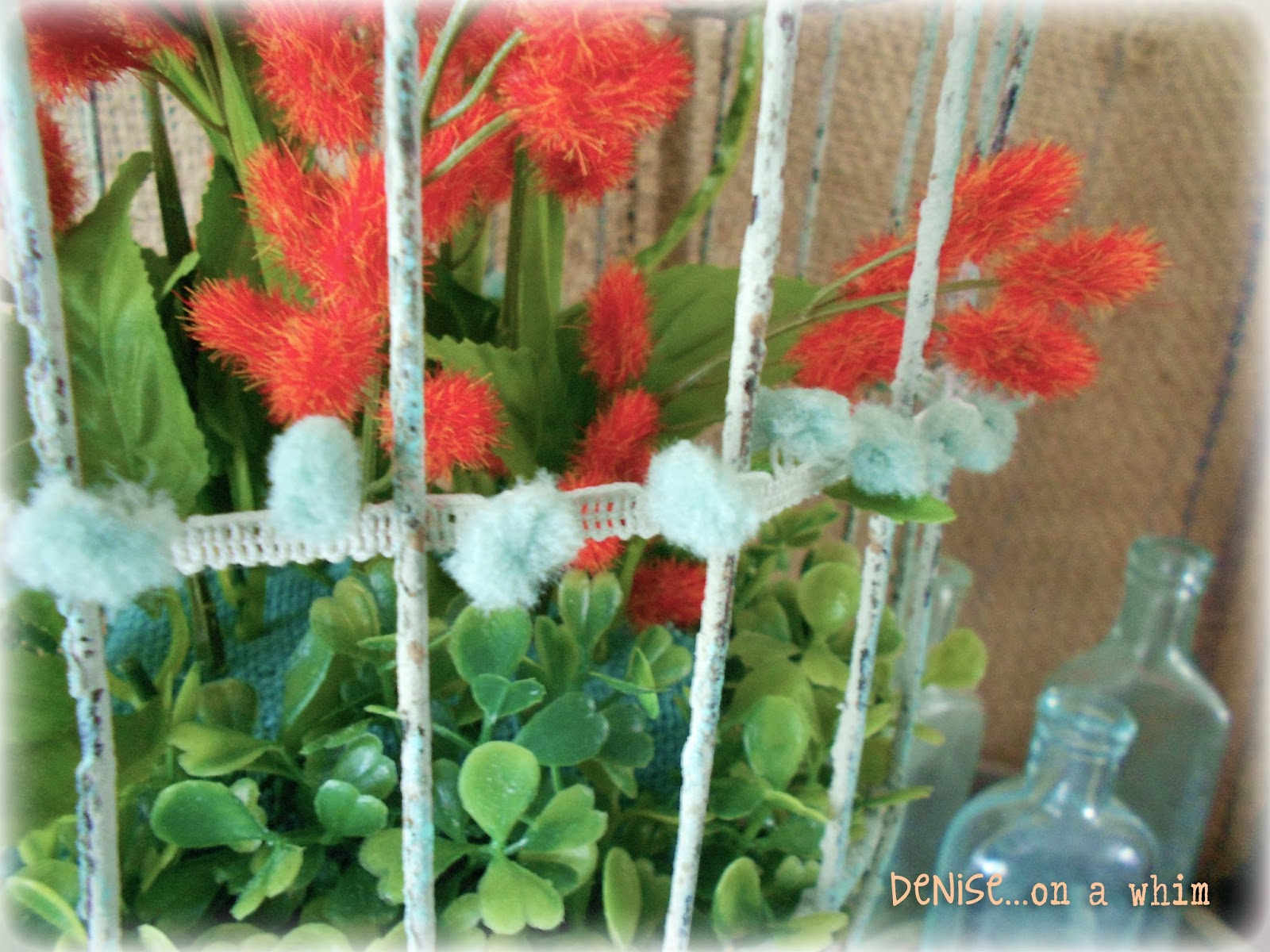 Pom Pom Ribbon on a Shabby Birdcage via http://deniseonawhim.blogspot.com
