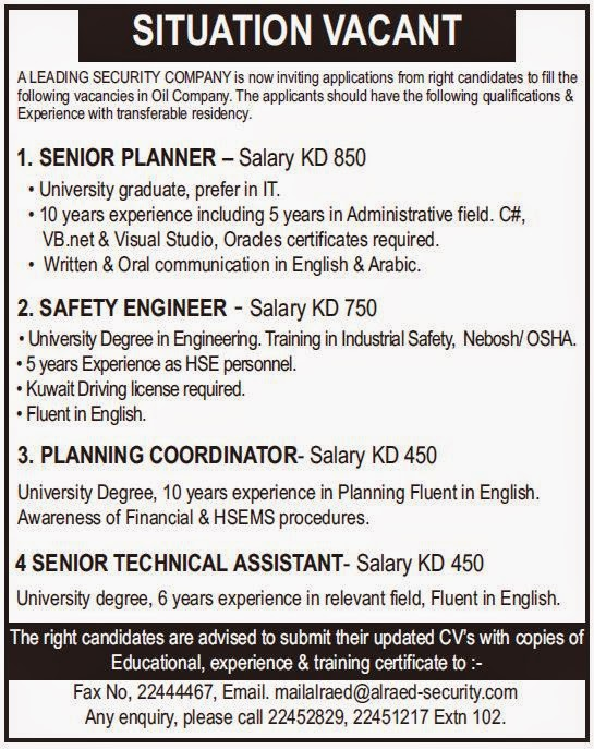 An oil company needs Senior planner - Salary KD 850, Safety Engineer ...