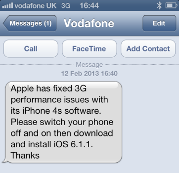 Vodafone warns customers not to download iOS6.1