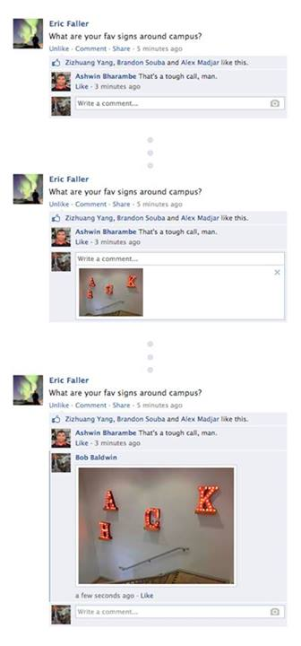 Facebook allows you to comment on a status with a picture