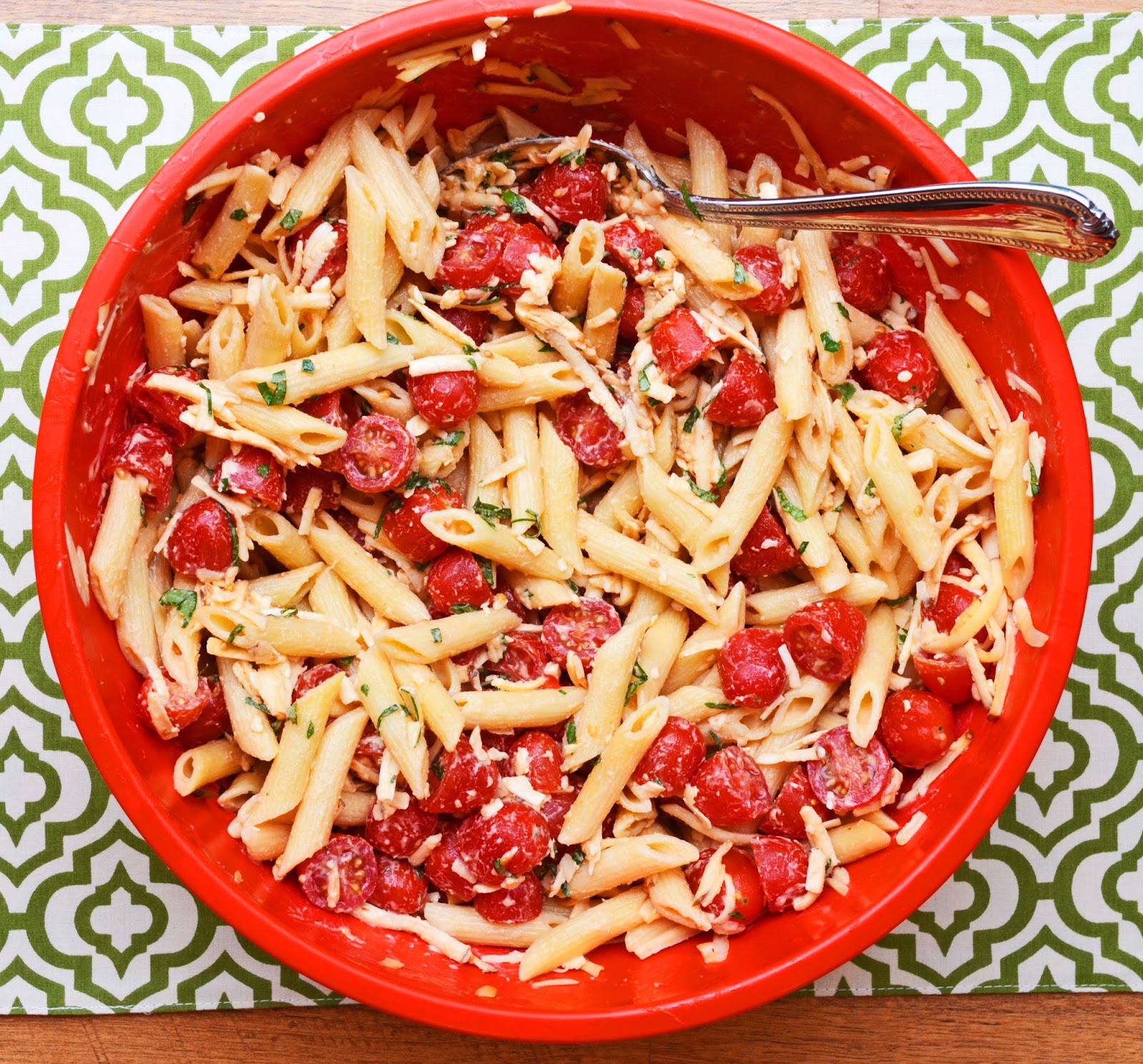 Spicy Pasta Salad With Smoked Gouda, Tomatoes, And Basil Recipe ...