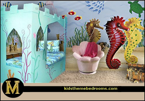 under the sea ocean themed bedroom undersea wall decor long