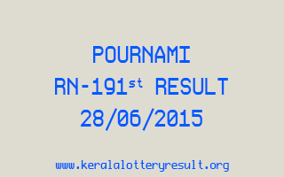 POURNAMI RN 191 Lottery Result 28-6-2015