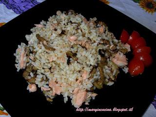 insalata di riso salmone e melanzane