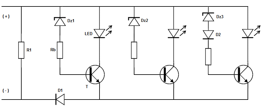 Indikator tegangan baterai sederhana dengan led resistor 1 r1 bernilai 10 kiloohm 05 watt berfungsi sebagai filter tegangan tinggi yang terjadi akibat induksi medan magnet di alternator dinamo ccuart Image collections