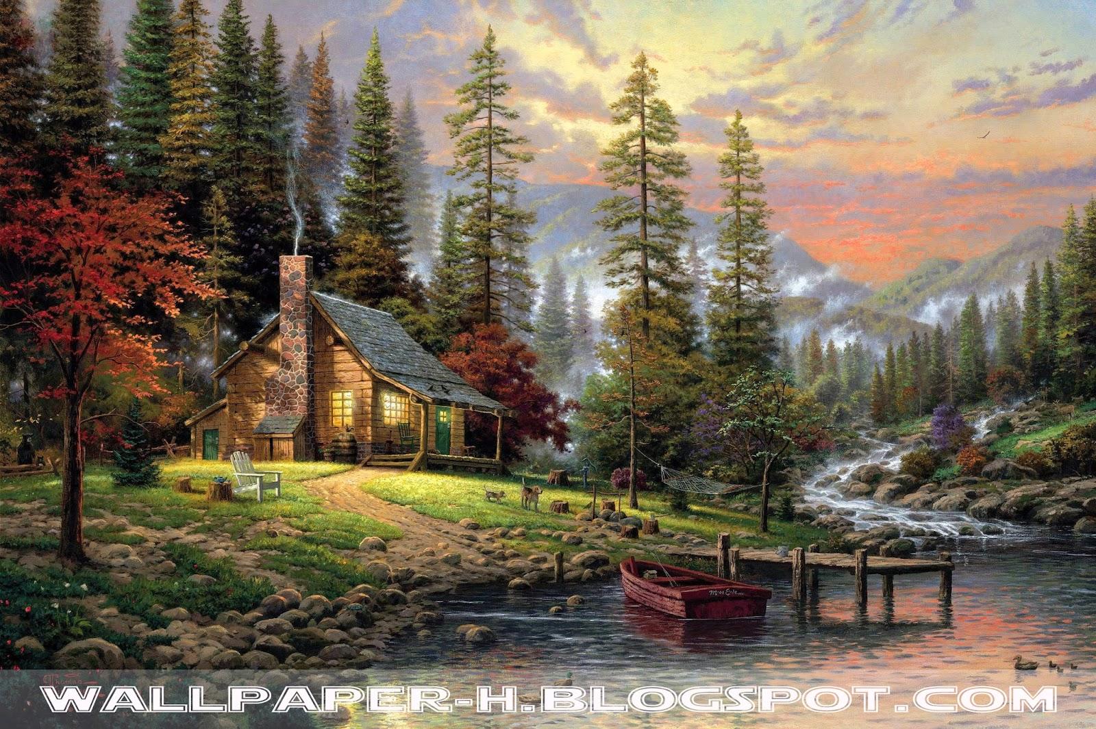 Thomas_Kinkade_a_quiet_cozy_home_chair_barrel_fiber_dogs_gomak