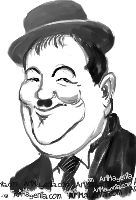 Oliver Hardy is a caricature by illustrator Artmagenta