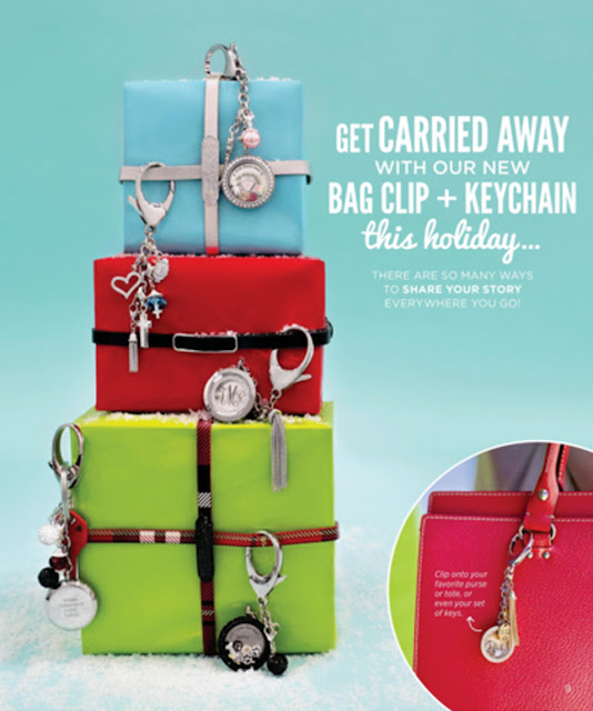 Get Carried Away with Origami Owl Bag Clip + Keychain - available at StoriedCharms.com