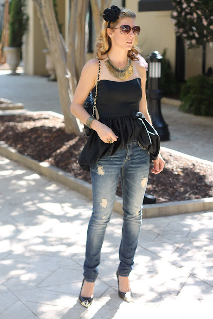 Bustier top from summerbird, zara jeans, Chanel purse, ZoeLynn &amp; Co. headband, Stella &amp; Dot necklace, Tory Burch pumps, Melinda Maria Ring, Tiffany, Diamonds Direct, Blinde Sungalsses