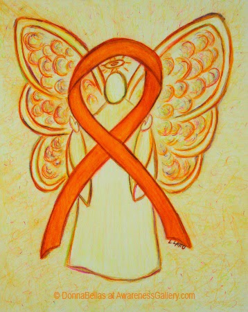 Orange Awareness Ribbon Guardian Angel Art Original Painting