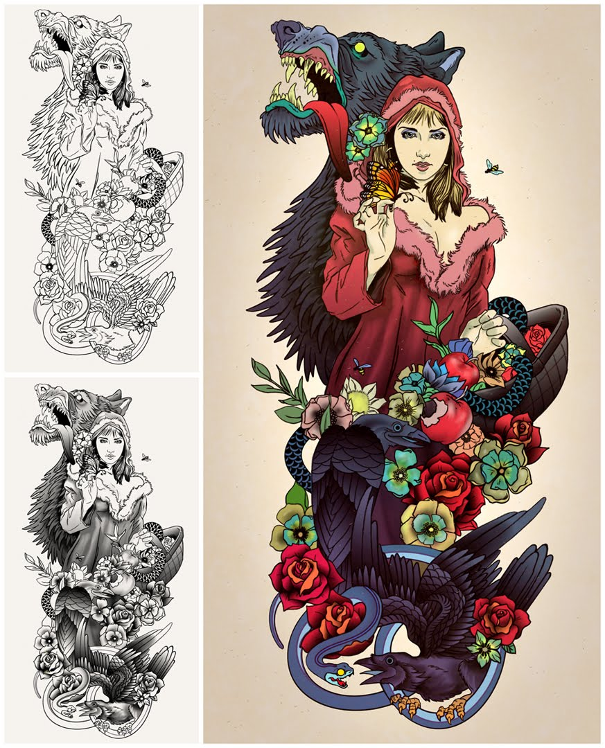 the iris on little red riding hood tattoo commission. Black Bedroom Furniture Sets. Home Design Ideas