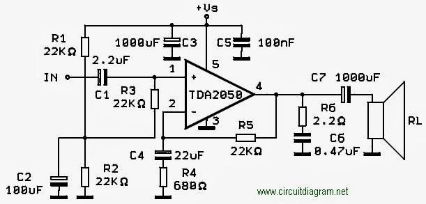 skema rangkaian amplifier  membuat amplifier dengan ic tda2050