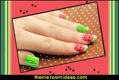 Watermelon Pattern French False GLUE ON Full Nail Art Tips