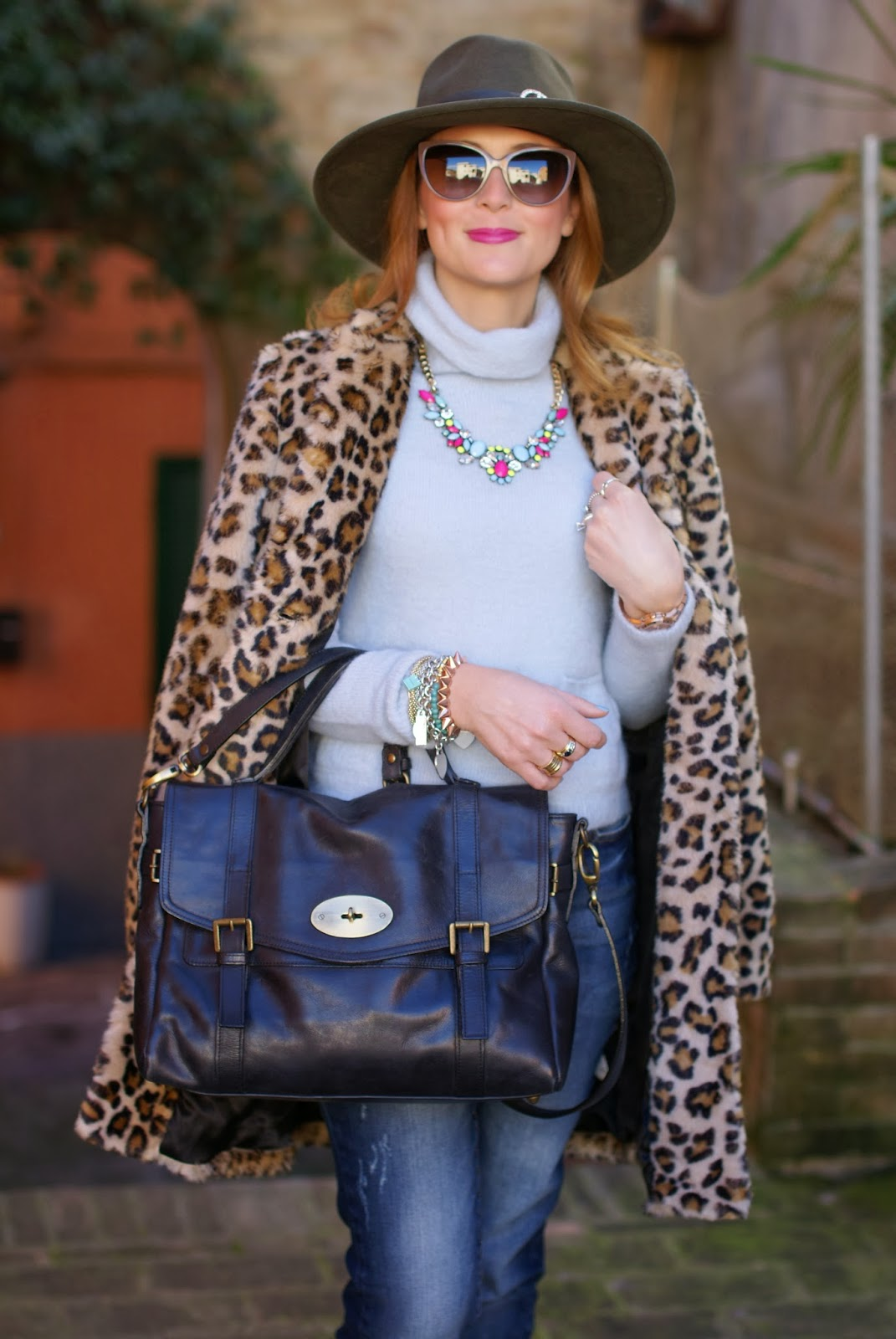 Zara leopard faux fur coat, mulberry alexa lookalike, satchel bag, Fashion and Cookies, fashion blogger