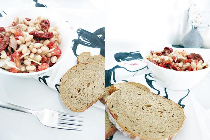 Weißer Bohnensalat mit getrockneten Tomaten