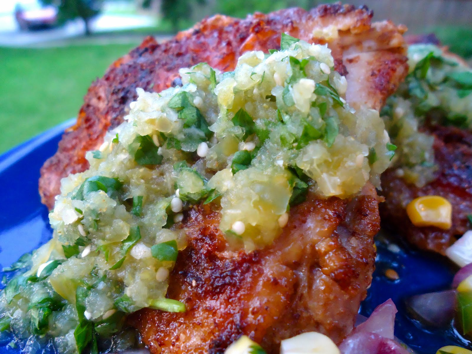 Cumin-Crusted Chicken Thighs With Grilled Tomatillo Salsa Recipes ...