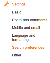 Blogger settings, search preferences