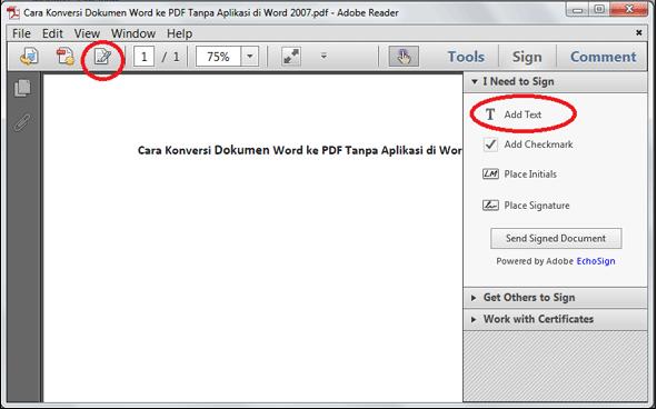 Cara menambah tulisan atau teks ke dalam file PDF
