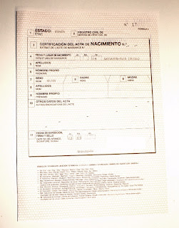 Acta de nacimiento. Certificado plurilingue