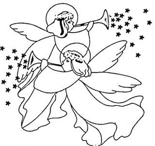 Christmas Angels singing coloring page at baby Jesus