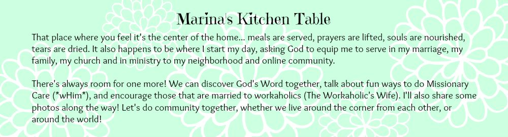 Marina's Kitchen Table, home of Marina Peters Bromley  and Auntie Em Writes...