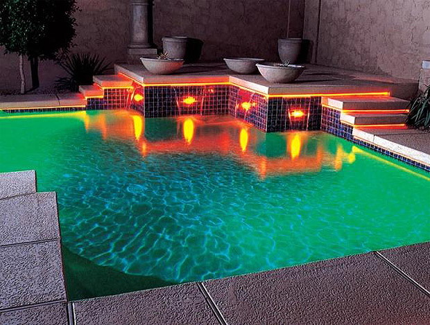 Interior design decorating ideas floating swimming pool lights - Swimming pool lighting design ...