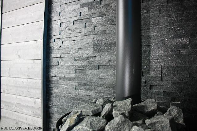 Stoveman kiukaan palosuoja Aitokivi Black Quartzite verhoilukivi.