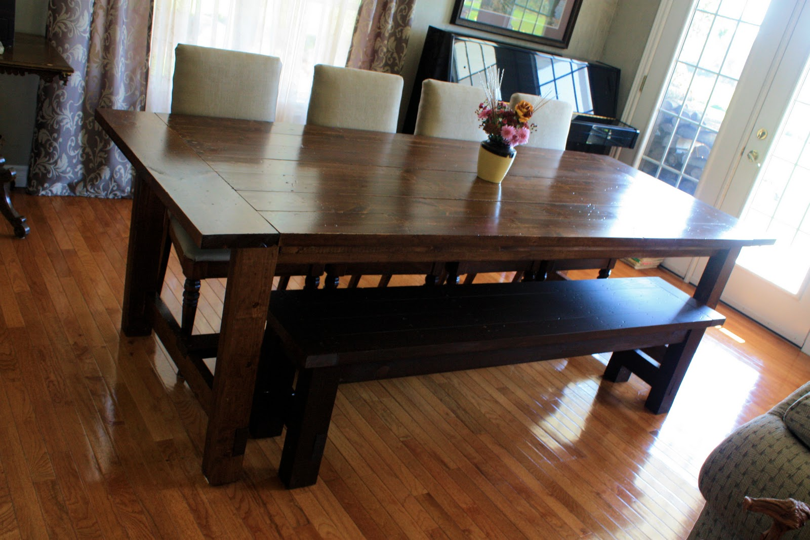 . Landlocked  Farmhouse Dining Table and Bench