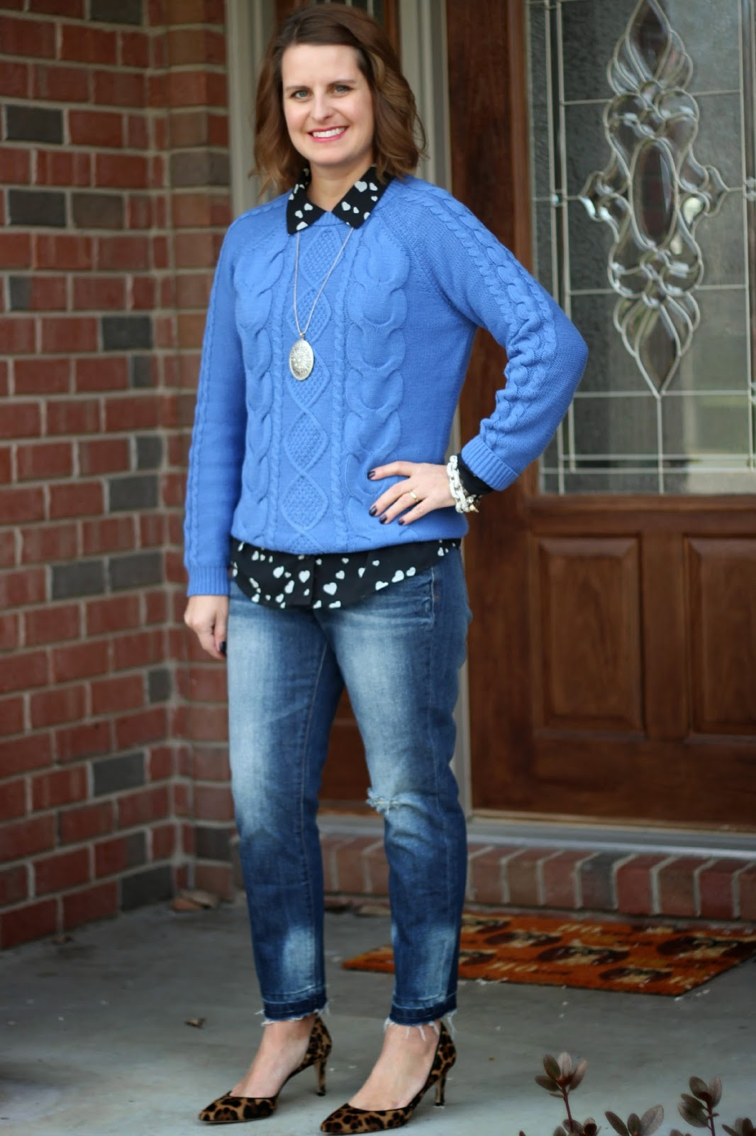 Winter fall outfit, blue cable sweater, black hearts blouse, j crew leopard pumps, boyfriend jeans