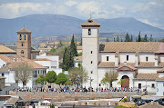 This is a view of the old city of Granada directly at the base of Alhambra.