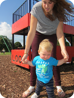 baby in the park, first steps, first birthday