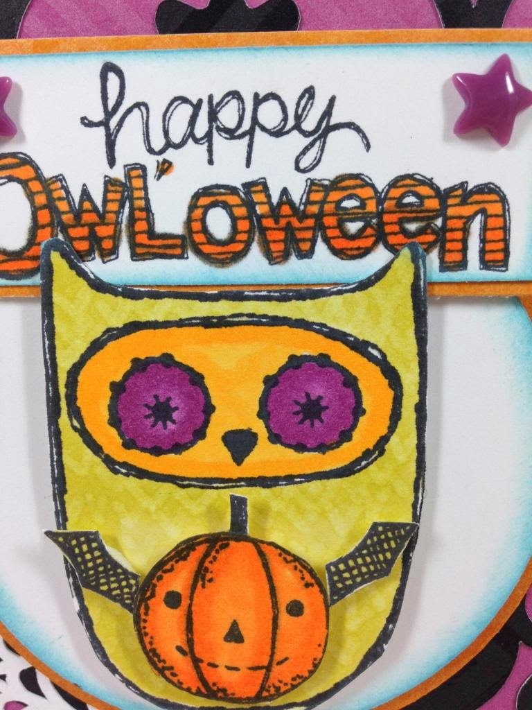 Cricut Artiste 'Owl'oween card sentiment closeup