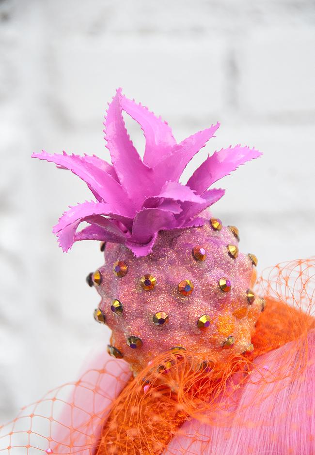 Pineapple hat, fascinator, pearls & swine