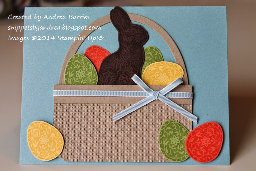 Blue card with large Easter basket shape cut from card stock and embossed. Basket is filled with stamped and cut-out Easter eggs and chocolate bunny.