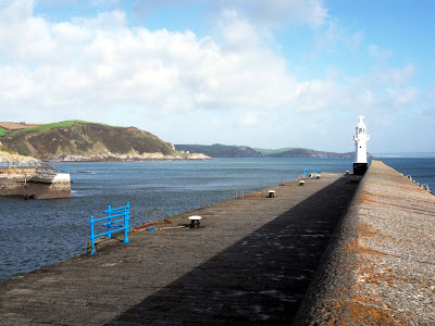 View from harbour pier at Mevagissey Cornwall