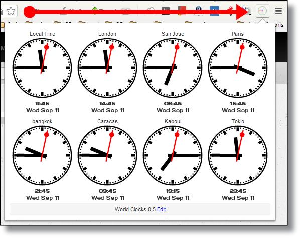 Chrome : World Clocks