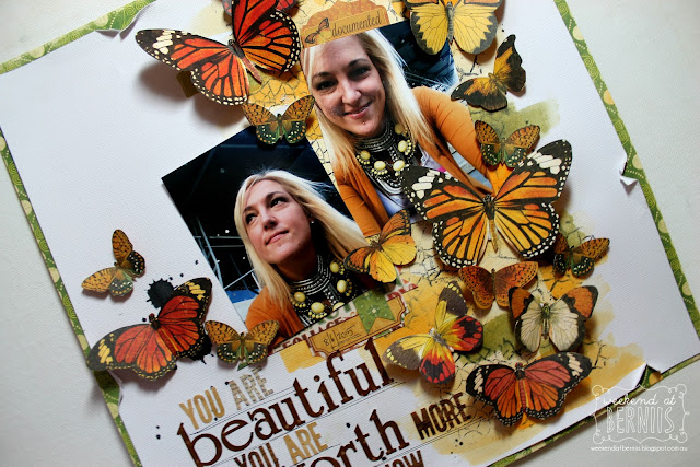 You are beautiful you are worth more then you know layout by Bernii Miller using the Enchanted harvest collection.