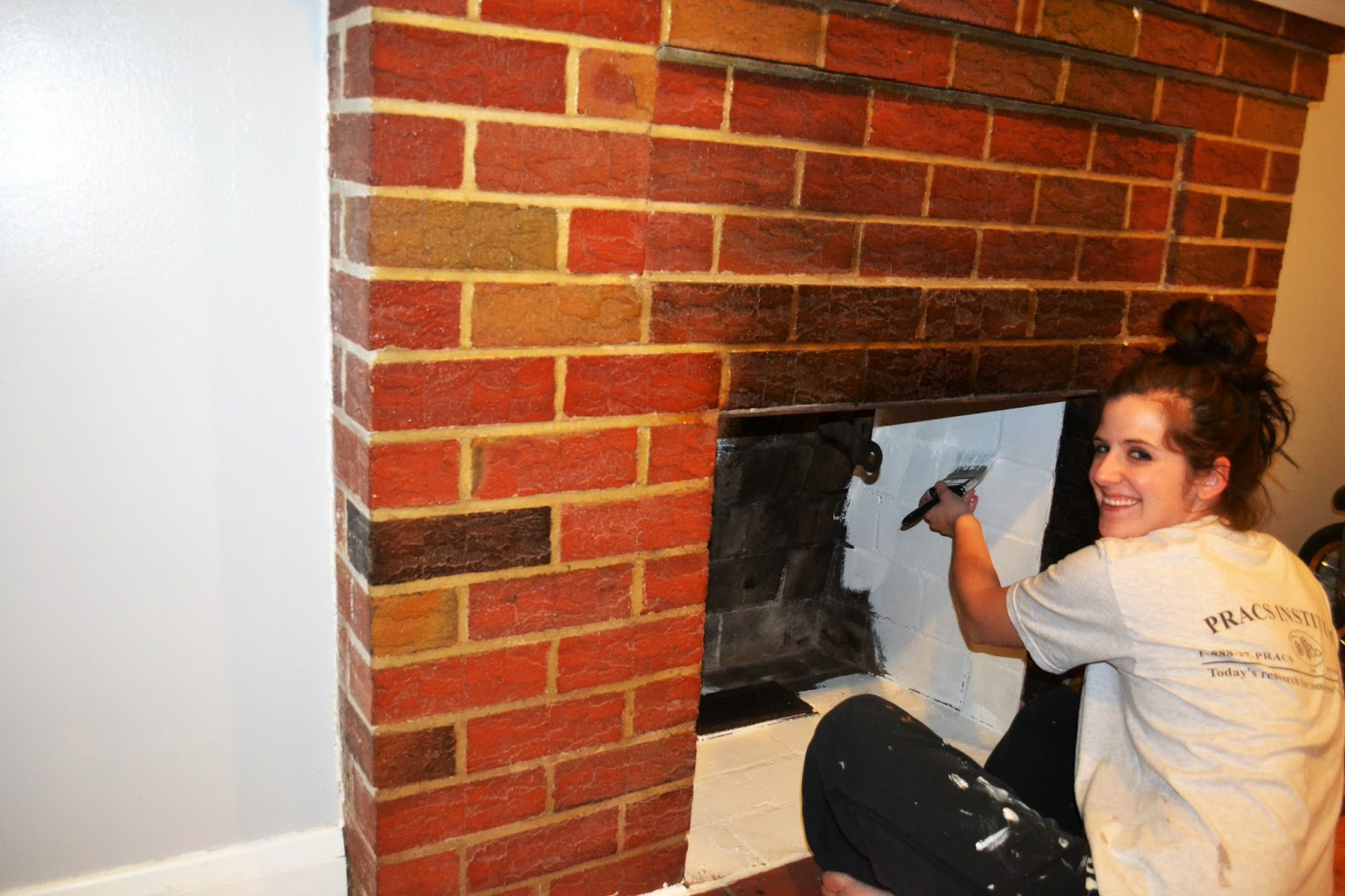 Paint For Inside Of Fireplace Project Stayathome Mommy Bye Bye Ugly Red Brick Fireplace